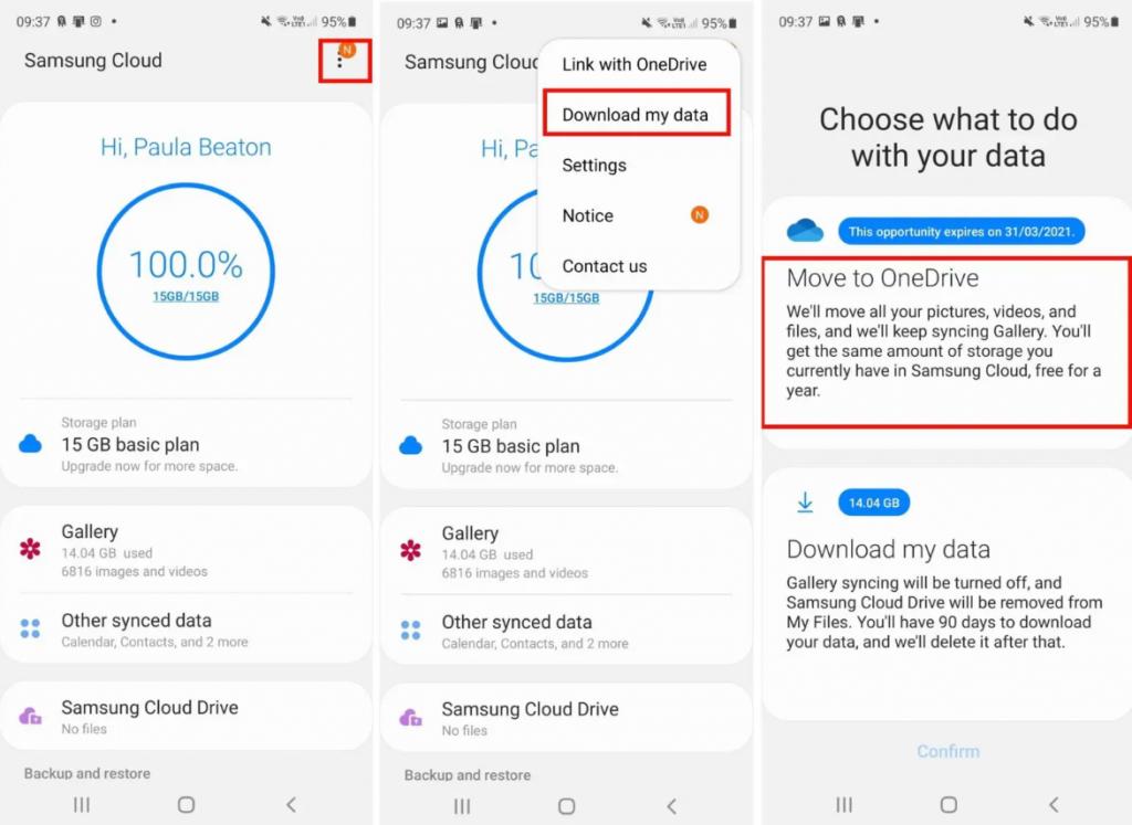 طريقة نقل الملفات من خدمة Samsung Cloud إلى OneDrive